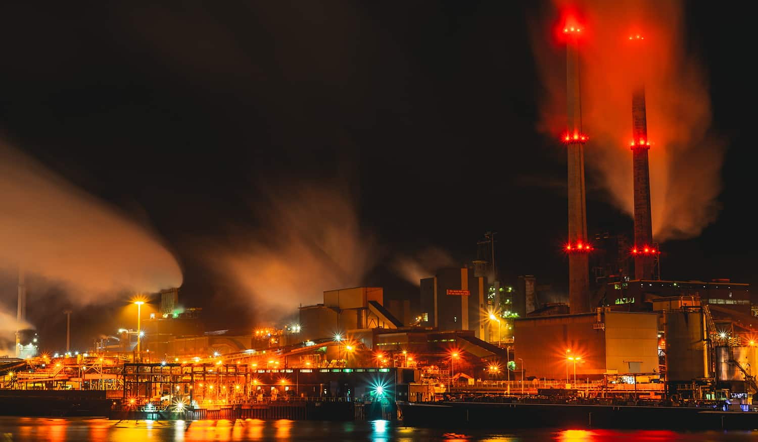 Image of natural gas plant at night
