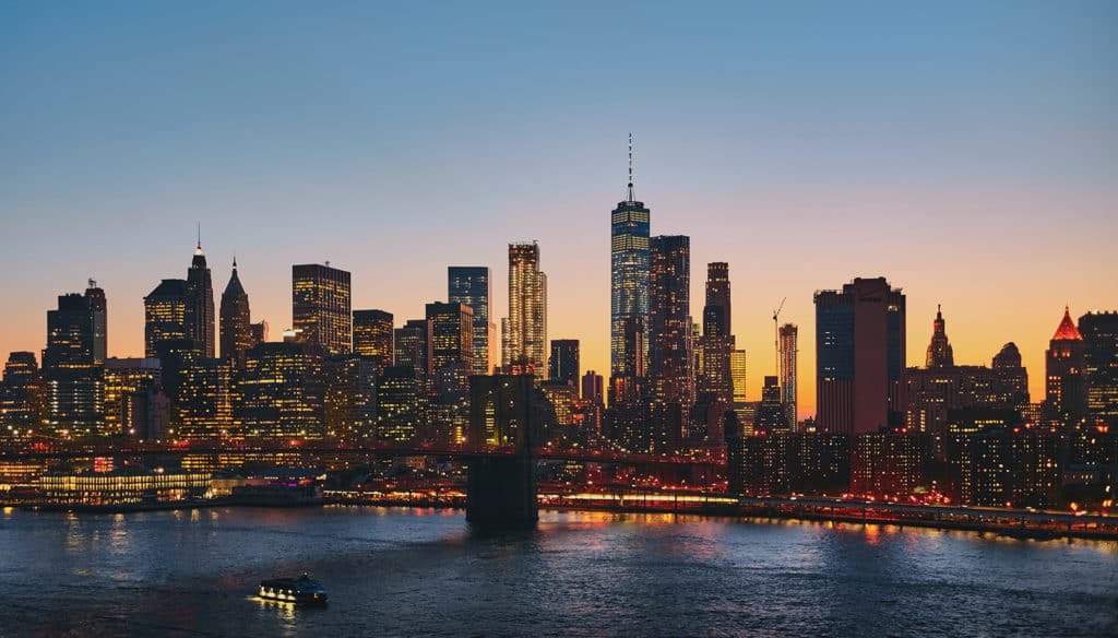 Image of New York City in the evening