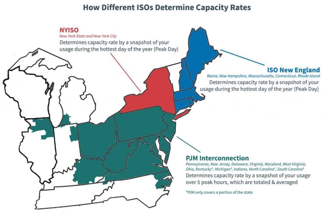 Map describing how different ISOs price capacity through peak events