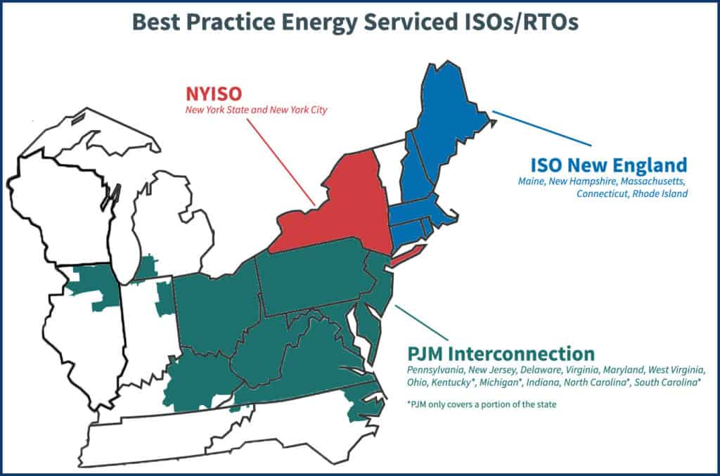 ISO and RTO regions that BPE services