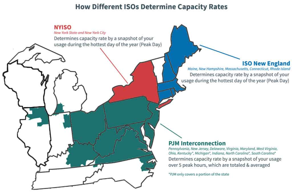 Map outlining how different ISOs calculate capacity