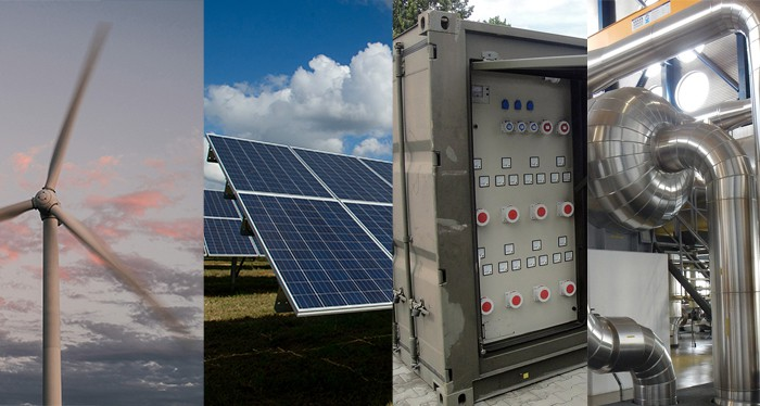 Examples of distributed generation: A wind turbine, solar panel, fuel cell, and geothermal energy