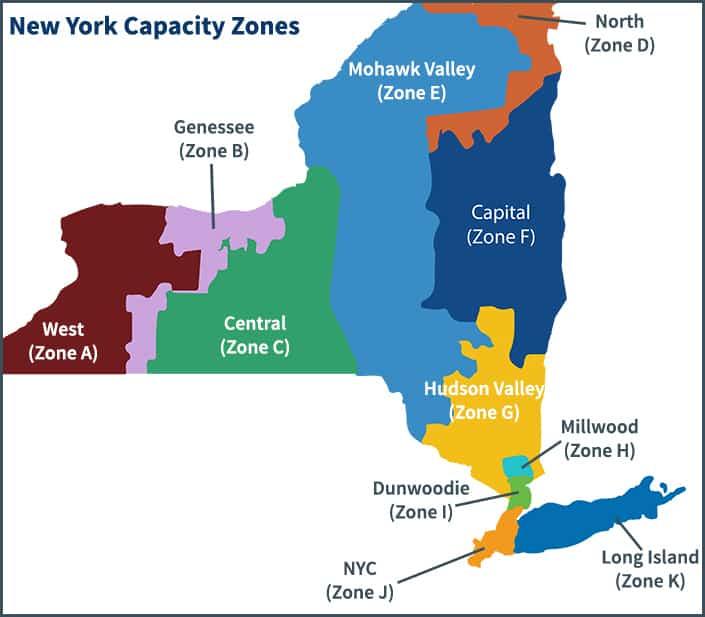 A picture of New York that breaks down where each capacity zone is