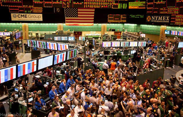 A picture of a typical day trading at the NYMEX, which significantly impacts the price of a gas bill