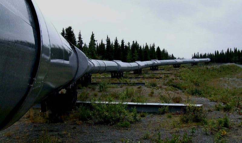 A pipeline in the mountains used for transmitting natural gas to buildings