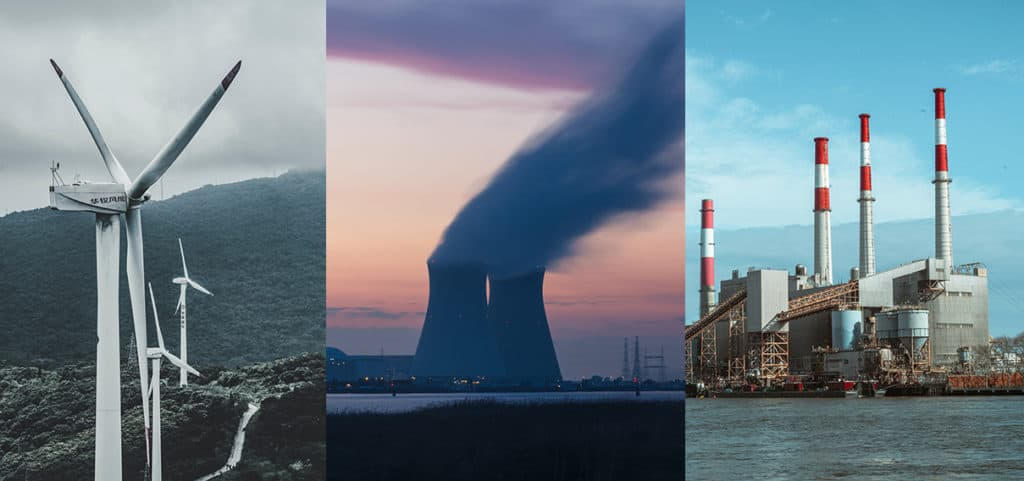 Image showing three different types of electricity generation