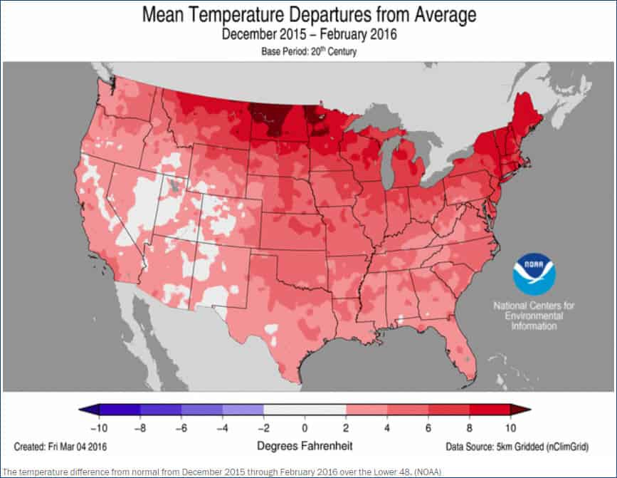 Average temperatures of the US Dec 2015 - Feb 2016
