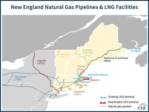 Map of natural gas pipelines and LNG facilities in New England and Northeast Canada