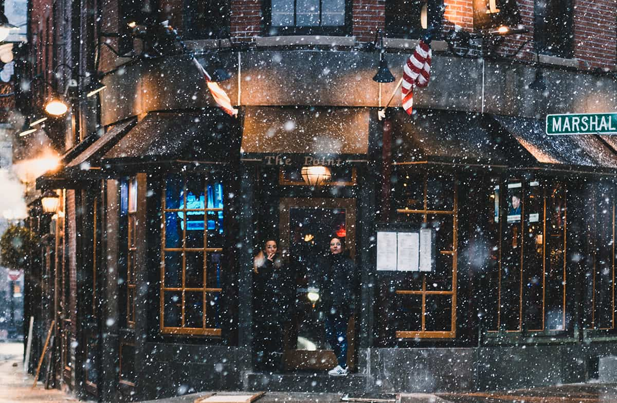 A restaurant in Boston Mass during a winter storm