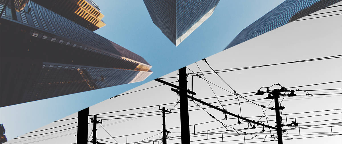 Image of utility lines and buildings